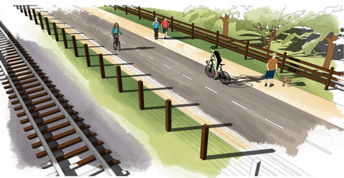 artist rendering of rail ROW improvements
