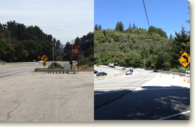 Median Barrier and Curve Warning Signs on Highway 17 near Laurel Curve