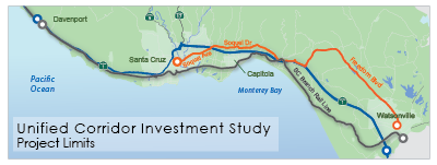 map of the three transportation corridors being studied