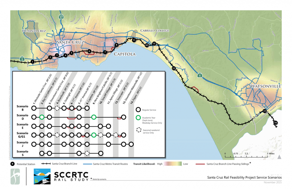 Map of rail corridor and chart of proposed passenger service scenarios
