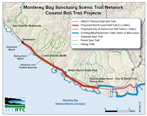 Map of trail projects from Santa Cruz to Davenport
