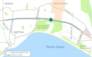Map showing auxiliary lanes between Bay Ave and State Park Dr on Hwy 1